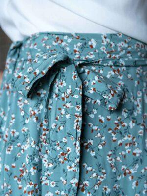Jupe Midi Fleurie Bleue